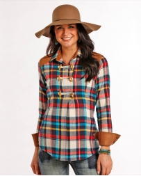 Rock and Roll Cowgirl® Ladies' Toggle Twill Plaid Shirt