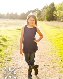 Southern Grace® Kids' Navy Solid Tank With Lace