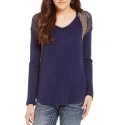 Miss Me® Ladies' Waffle Lace Top