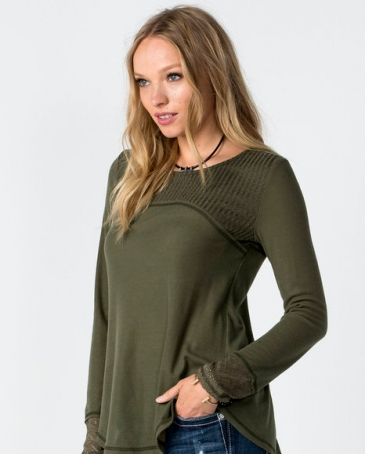 Miss Me® Ladies' Knit Mix Match Long Sleeve Top