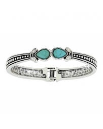 Rock 47 by Wrangler® Ladies' Turquoise Teardrop Hinged Bangle