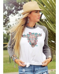 Ali Dee® Ladies' Tribal Cowskull Baseball Tee