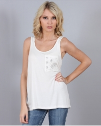 Panhandle® Ladies' Knit Tank W/Gem Pocket White