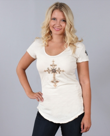 Velvet Stone® Ladies' Christy Cut Out Cross Shirt