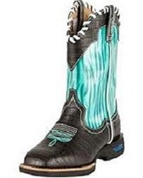 Cinch® Kids' Black and Teal Wave Boots