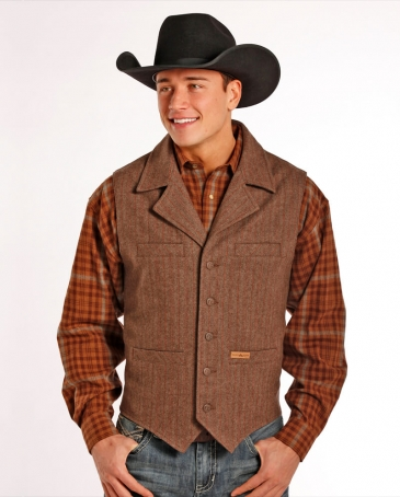 Powder River Outfitters Men's Plaid Wool Vest - Tall