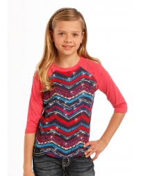Rock and Roll Cowgirl® Girls' 3/4 Sleeve Aztec Baseball Tee