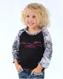 Cowgirl Hardware® Girls' 3/4 Paisley Quarter Sleeve Tee