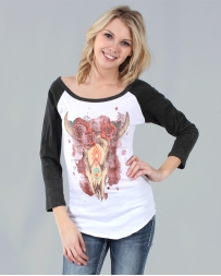 Rock and Roll Cowgirl® Ladies' Steerhead Baseball Tee