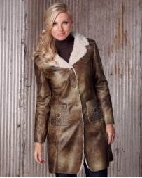 Cripple Creek® Ladies' Faux Shearling Lined Coat With Starburst Top Stitching