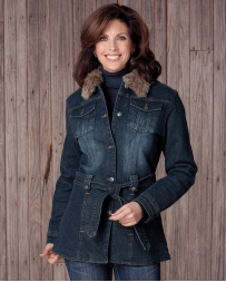 Cripple Creek® Ladies' Belted Stonewashed Button Front Coat