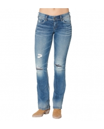 Silver Jeans® Ladies' Suki Mid Rise Destructed Boot Cut Jeans
