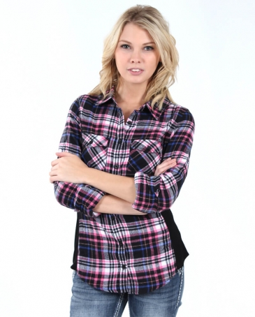 Derek Heart® Ladies' Black & Pink Flannel Shirt