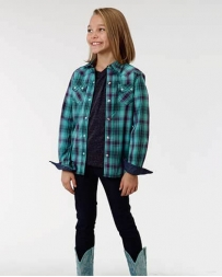 Roper® Girls' LS Snap Plaid Shirt