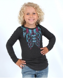 Cowgirl Hardware® Girls' Waffle Long Sleeve Henley Arrows