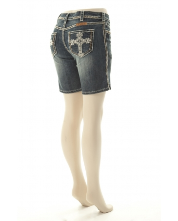 Cowgirl Tuff® Ladies' Victory Cream Bermuda Shorts