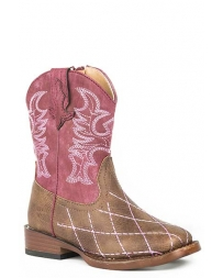 Roper® Girls' Pink Diamond Stitch Boots - Toddler