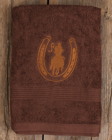 Western Moments® Rider & Horseshoe Bath Towel