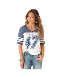 Wrangler® Ladies' V-Neck Baseball Tee
