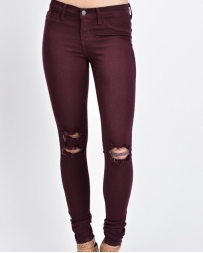 Kancan® Ladies' Burgundy Torn Skinny Jeans