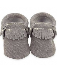 First Step® Boys' Grey Moccasins