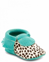 First Step® Girls' Teal Leopard Moc