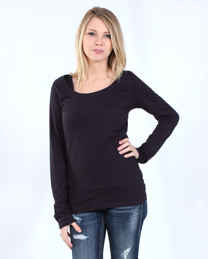 bbb845229b7 Ladies Black Scoop Neck T Shirt - BCD Tofu House