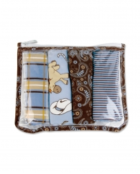 Cowboy Baby Zip Pouch Burp Cloth Set - 4 Pieces