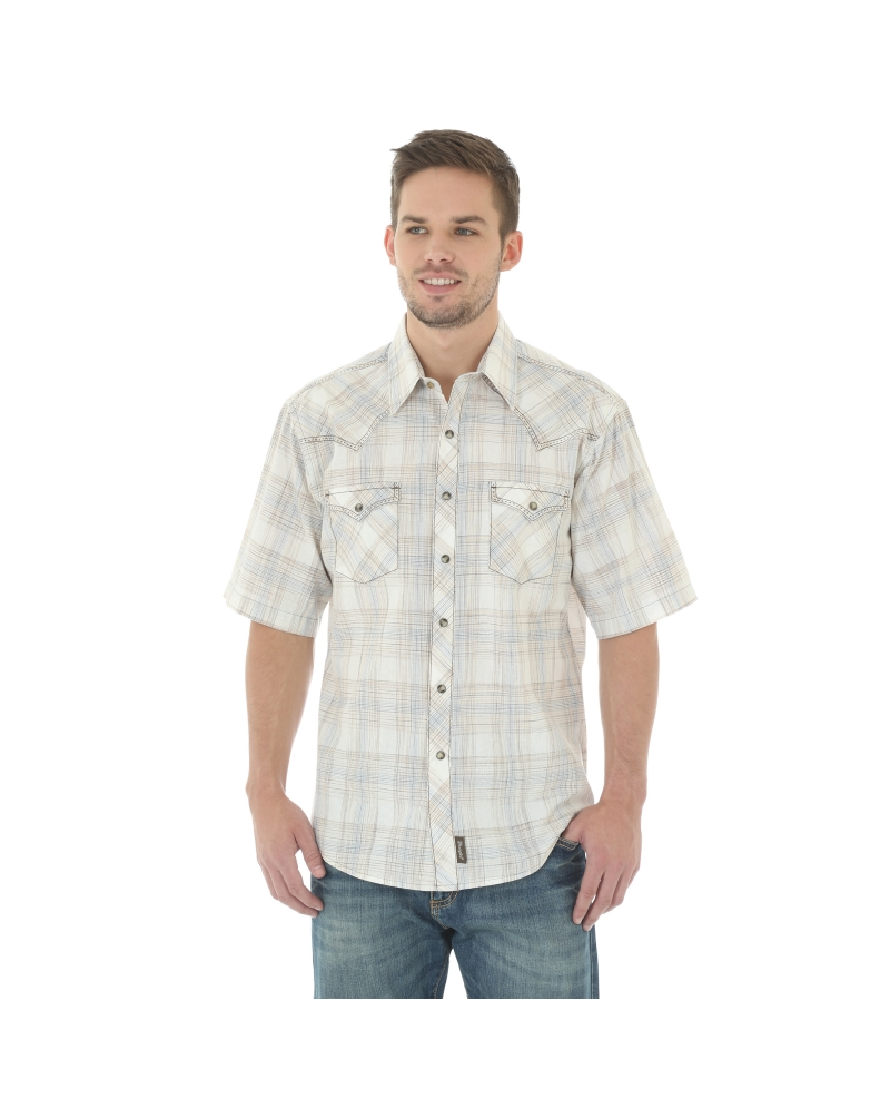 Wrangler retro men 39 s short sleeve snap plaid shirt fort Short sleeve plaid shirts