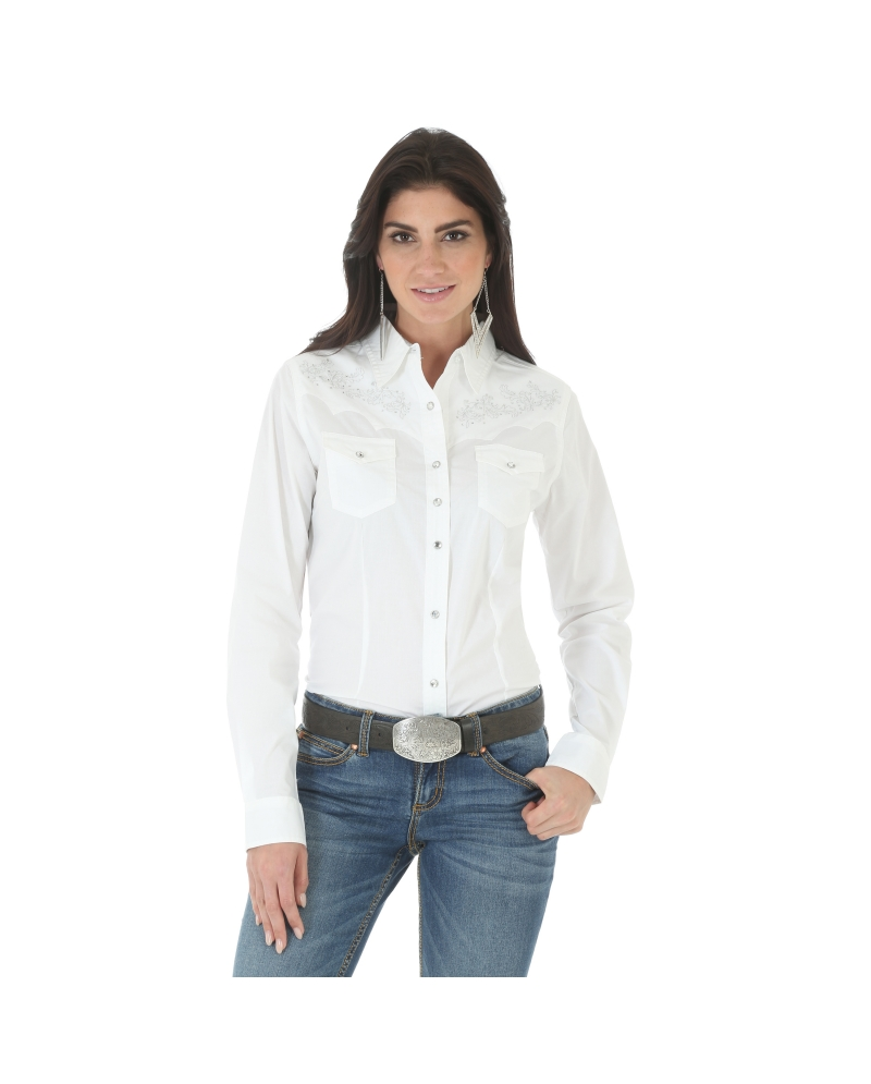 Wrangler Rock 47 >> Rock 47 By Wrangler Ladies Long Sleeve Snap Front Shirt Fort Brands