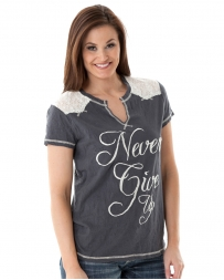Cowgirl Tuff® Ladies' Slit Neck Tee With Lace