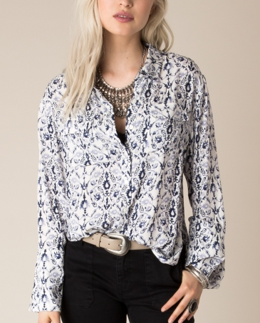 White Crow® Ladies' Country Blue Floral Shirt