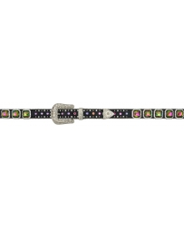 3D Belt Company® Girls' Black Gator Print Volcano Stone Belt