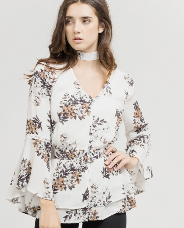 Blu Pepper Ladies' Floral Choker Top