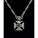 Montana Silversmiths® Ladies' Blue Earth Antiqued Silver Cross Necklace