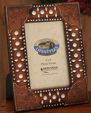 "Montana Lifestyles® Tooled Leather Stud Frame 4"" x 6"""