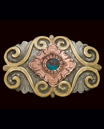 Montana Silversmiths® Men's Cabochon Flower Blooming Western Belt Buckle
