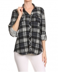 Just 1 Time® Ladies' Black and Grey Plaid Shirt