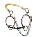 Ring Combination Rope Nose Hackamore - 3/8 3-Piece Twisted Wire Dog Bone Snaffle Bit