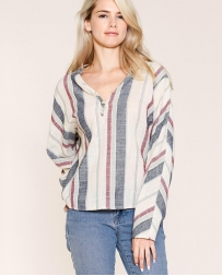 Just 1 Time® Ladies' Dolman Stripe Long Sleeve Top