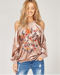 Just 1 Time® Ladies' Embroidery Cold Shoulder Top