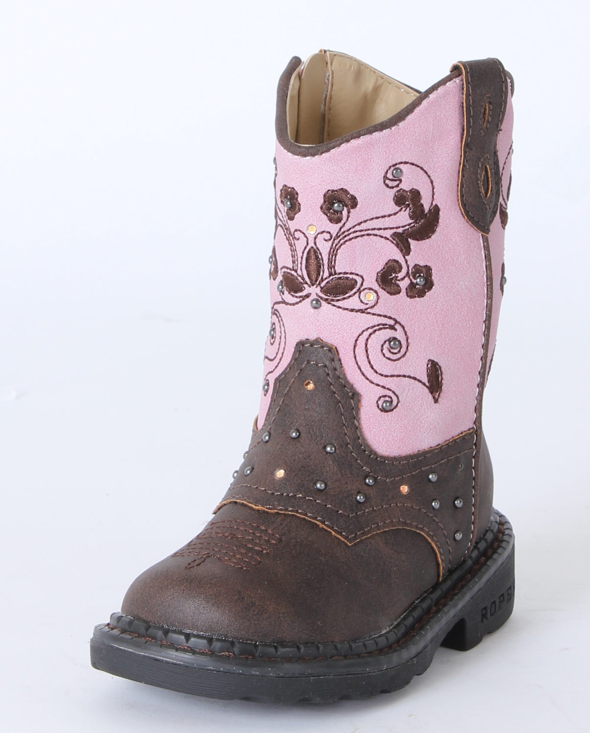 Roper® Girls' Brown & Pink Dazzle Lights Boots - Toddler - Fort Brands