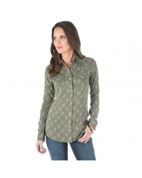 Wrangler® Ladies' Long Sleeve Chiffon Snap Front