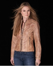 Cripple Creek® Ladies' Cross Back Leather Jacket