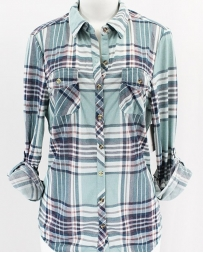 FashionGo® Ladies' Purple And Mint Flannel Shirt