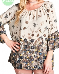 FashionGo® Ladies' Oddie Curvy Floral Top