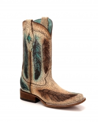 Corral Boots® Ladies' Engraved Feather Sq. Toe Boot