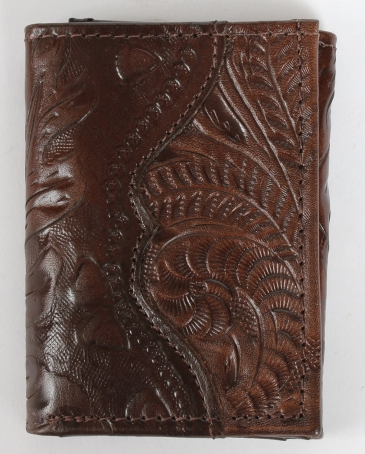 American West® Men's Tooled Brown Tri-Fold Wallet
