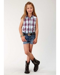 Roper® Girls' Girls Sleeveless Plaid Shirt