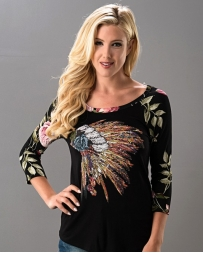Just 1 Time® Ladies' Warrior Print Floral Top